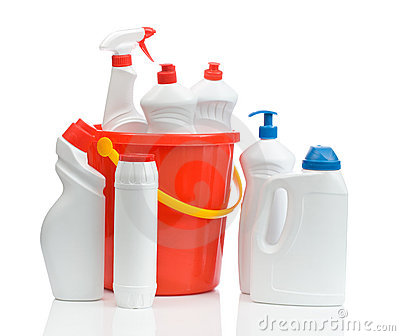 Composition of white cleaners with red bucket