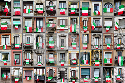 Composition of windows with Italy flags
