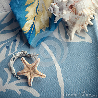 Free Composition With Sea Shells And A Starfish Set On Cotton Towels Stock Photo - 61994150