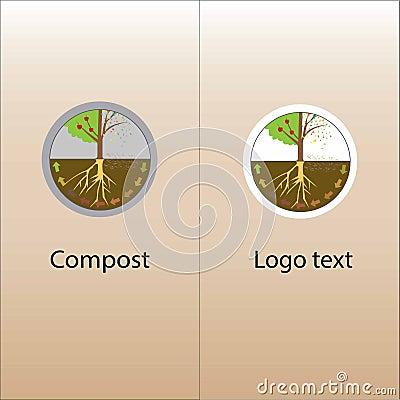 Composting process. Compost organic waste. Cartoon Illustration