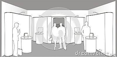 Compradores em uma exposição