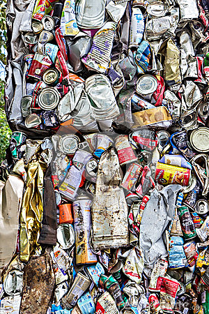 Free Compressed Aluminum Cans For Recycle Stock Image - 57451131