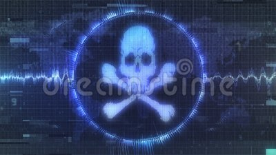 Distorted grungy hacker attack warning. Compressed and corrupted animated motion graphic of skull and crossbones cyber warning with jagged waves and interference stock illustration