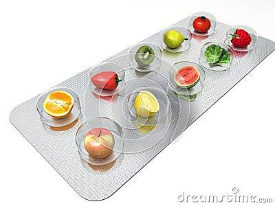 Comprimidos naturais da vitamina