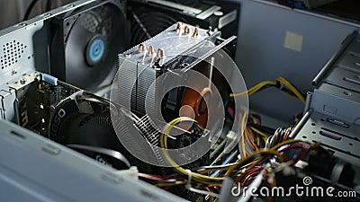 Computador com ventiladores em execução video estoque