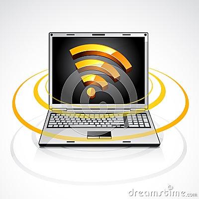 Computadora portátil con símbolo de la alimentación de los rss