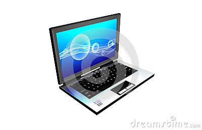 Computer with abstrac screen on a blue background