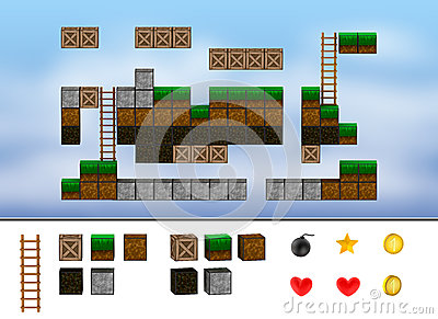 Computer arcade game level. Cubes, ladder, icons.
