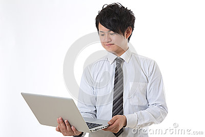 Computer and businessman