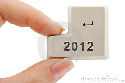 Computer button 2012 in hand