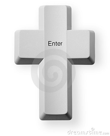 Computer button Enter - Christian cross