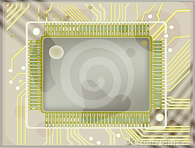 Computer chip on board illustration