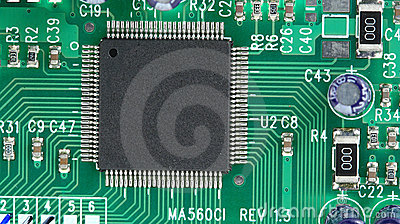 Computer chip on circuit board
