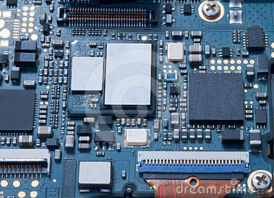 The computer chip close up