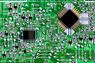 Computer chips and circuit board close up