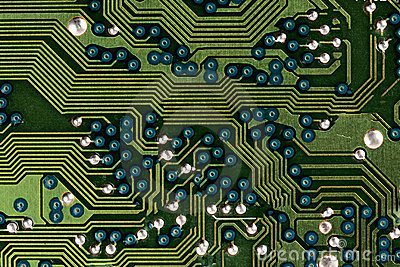 Computer circuit board in green