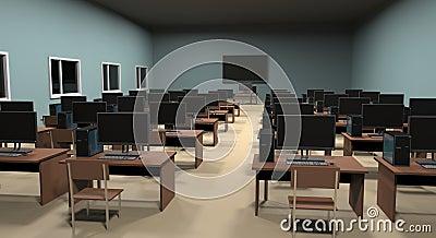 Computer Class. 3D illustration Cartoon Illustration