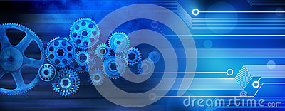 Innovation Computer Data Cogs Technology Banner Background Stock Photo