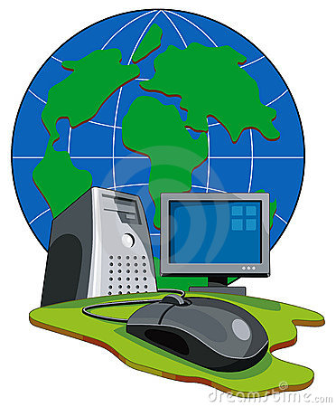 Computer connected to globe