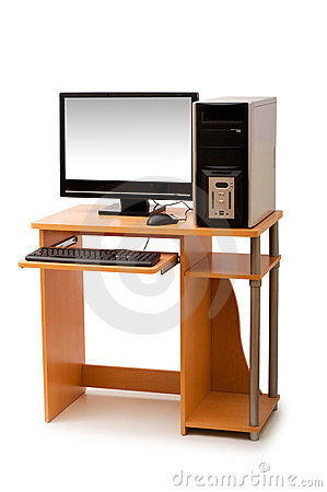 Computer and desk isolated