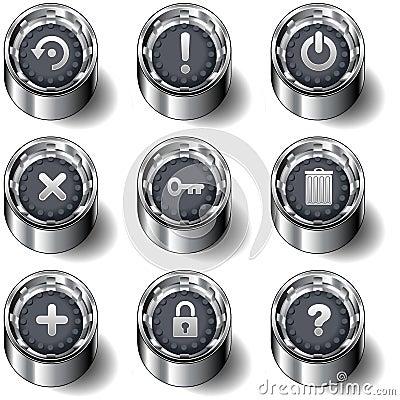 Computer desktop icon button set
