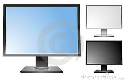 Computer display in 3 color variations. EPS 10