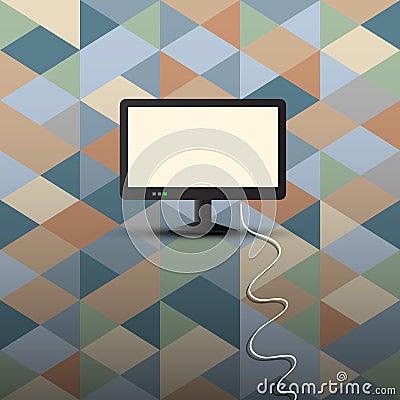 Computer display on retro background