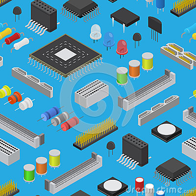 Free Computer Electronic Circuit Board Component Background Pattern On A Blue Isometric View. Vector Stock Photos - 98838283