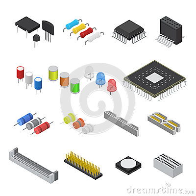 Free Computer Electronic Circuit Board Component Set Isometric View. Vector Royalty Free Stock Image - 88615256