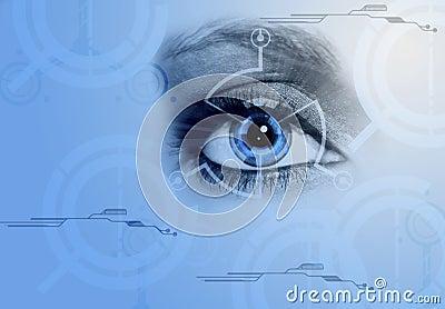 Computer, eye, blue, technology