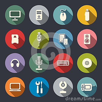 Free Computer Flat Icons Set Royalty Free Stock Images - 37345919