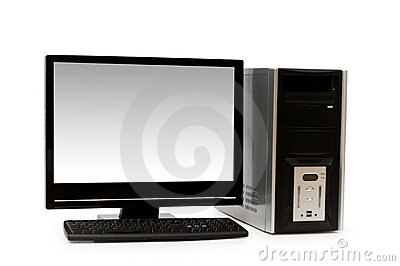 Computer with flat screen isolated