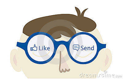 Computer geek thinking on Facebook Editorial Stock Photo