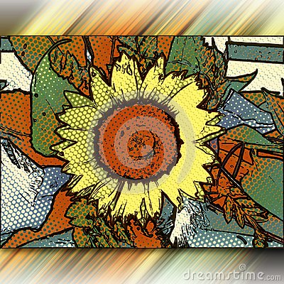 Free Computer Generated Halftone Popart Style Flower Artwork Stock Photography - 100565362