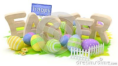 Happy Easter, 3D illustration Cartoon Illustration