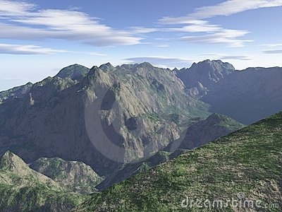 Computer generated mountain landscape