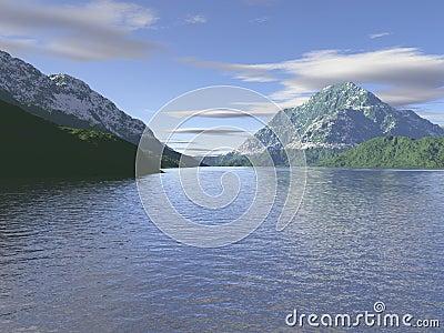 Computer generated mountain scene