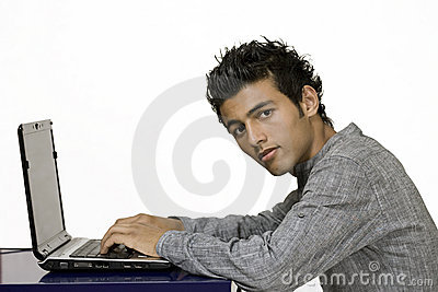 Computer generation guy on laptop