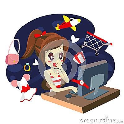 computer girl shopping - vector