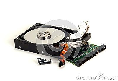 Computer Hard Drive and Broken Parts after Crash