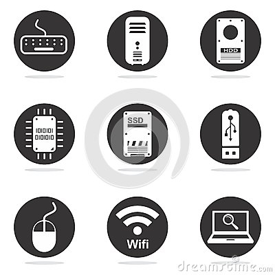 Free Computer Hardware Icon Set Stock Image - 26837901