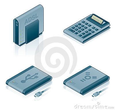 Computer Hardware Icons Set - Design Elements 55a