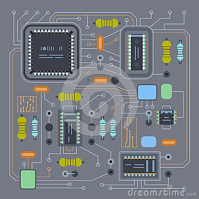 Free Computer IC Chip Template Microchip On Detailed Printed Circuit Board Design Stock Photo - 102830530