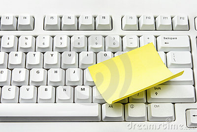 Computer Keyboard and Adhesive Note Paper