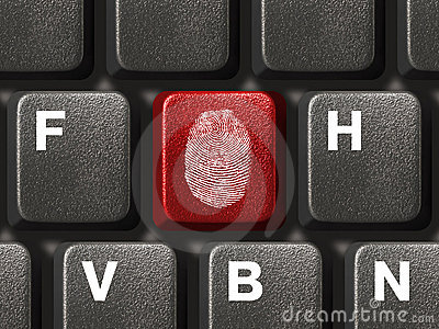 Computer keyboard with fingerprint