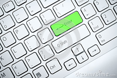 Computer keyboard with green button
