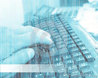 Computer keyboard, human hand and binary code 04.07.13