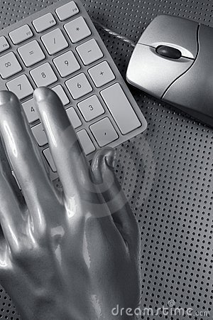 Computer keyboard mouse silver hand futuristic