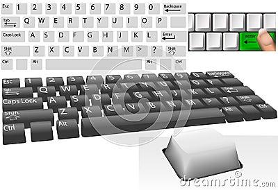 Computer keys and keyboard elements set