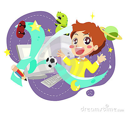 Free Computer Kids - Vector Royalty Free Stock Photo - 20338405